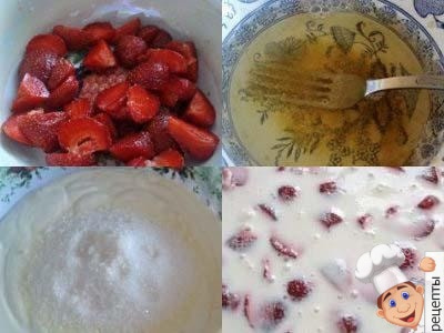 сметанный десерт с желатином и ягодами клубники