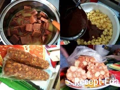 колбаска из кукурузных палочек и ирисок