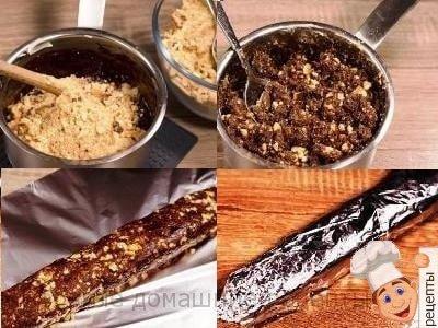 колбаска из печенья с орехами
