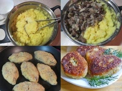 котлеты картофельные с грибами и луком рецепт