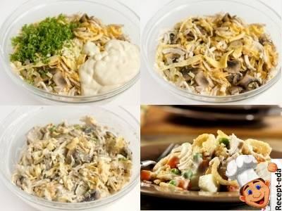 куриная грудка, грибы, морковь, салат рецепт