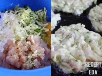 курино кабачковые оладьи с сыром