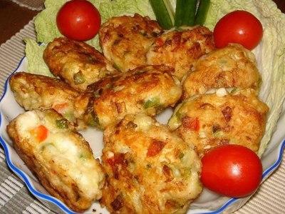 куриные котлеты с кабачком и перцем