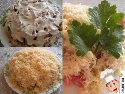 салат с курицей и помидорами и огурцами