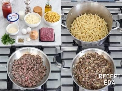 лазанья с макаронами и фаршем