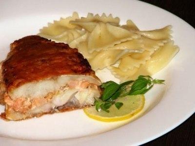 рыба фаршированная креветками, окунь морской красный рецепты в духовке