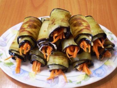 Закуска из баклажанов рулетики с морковью