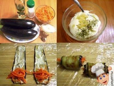 рулетики из баклажан сморковью по корейски