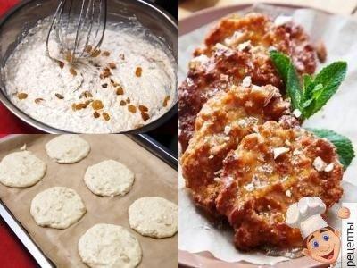 овсяное печенье с творогоми изюмом без масла