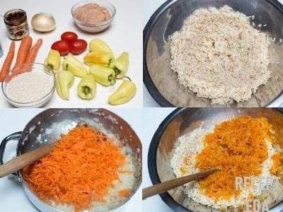 перец фаршированный морковью и рисом