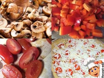 пиццу с грибами и сыром