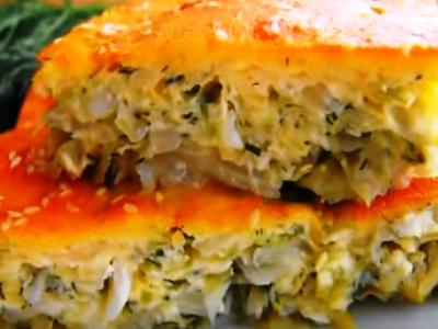 Ленивый пирог с капустой на кефире в духовке