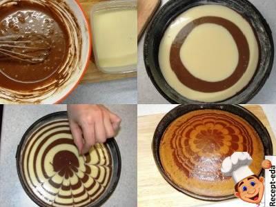 Пирог зебра на сметане простой рецепт