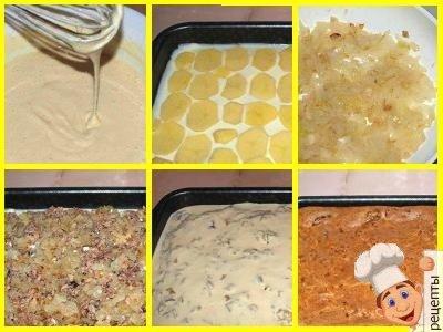 заливной пирог рыбные консервы, сайра или рыба с картошкой