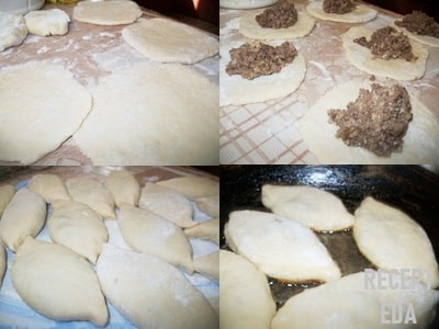 пирожки из творожного теста с мясом на сковороде