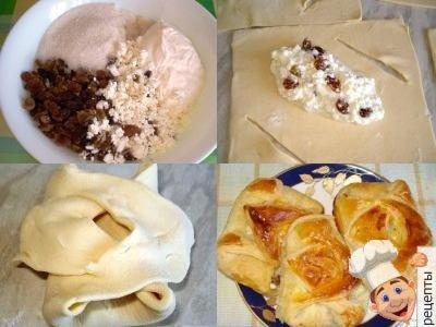 пирожки с творогом в духовке слоеное тесто
