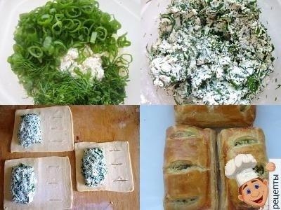 пирожки слоеное тесто творог и свежая зелень
