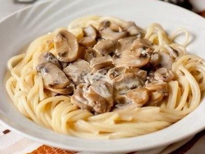 Спагетти с грибами в сливочном соусе, рецепт