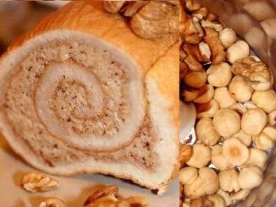 Бисквитный рулет с ореховой начинкой, рецепт