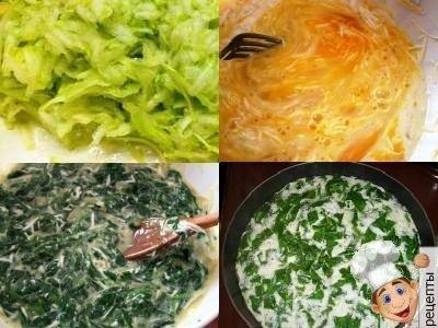 омлет со шпинатом в духовке, рецепт омлета фриттаты с кабачками, со шпинатом и сыром в духовке