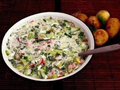 Рецепт приготовления окрошки с колбасой на кефире и минералке