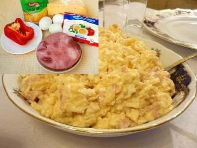 Салат с ветчиной, ананасами и сыром