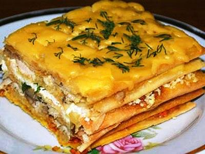 закусочный торт наполеонс грибами и курицей