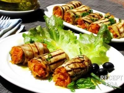 рулетики из баклажанов с луком и морковью