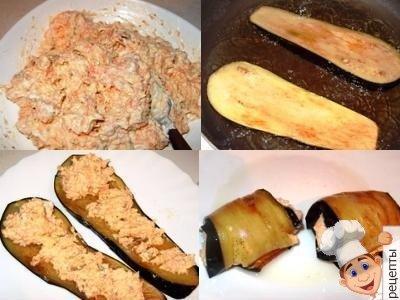 Рулетики из баклажан с морковью и чесноком