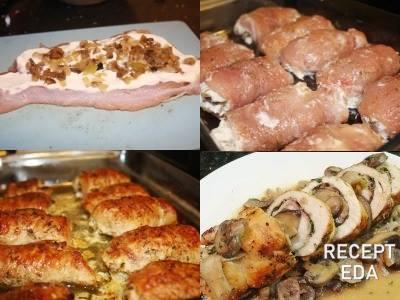 рулетики из индейки с грибами в духовке