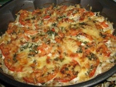 филе рыбы с помидорами и сыром в духовке