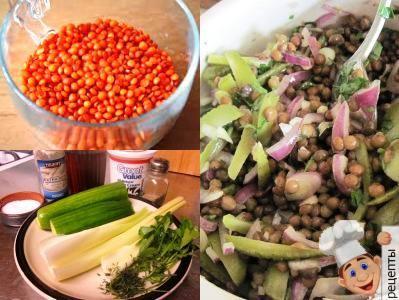салат из чечевицы с огурцом и овощами