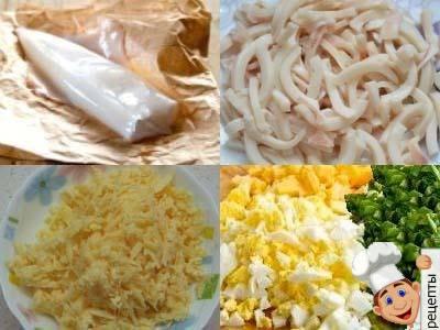 как приготовить салат с кальмаром, яйцом и плавленым сыром