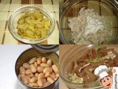 салатс курицей и фасолью и сухариками, фасолевый салат с сухариками