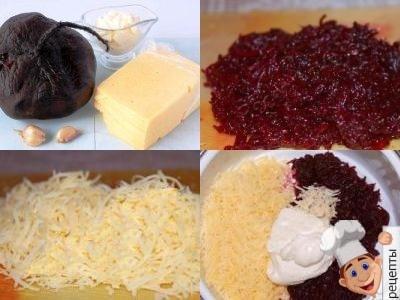 салат из свеклы с сыром, чесноком и майонезом