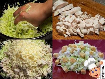 салат с курицей капустой и сухариками
