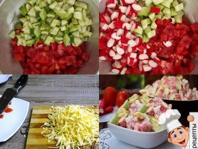 способ приготовления крабового салата с помидорами, перцем и огурцом
