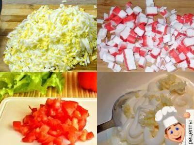 нежный салат крабовые яйца сыр помидоры