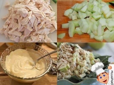 салат с сельдереем, курицей и яблоками