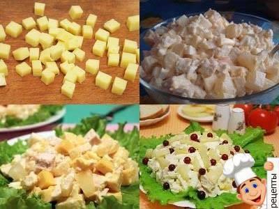 ананасовый салат с куриной грудкой и сыром