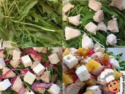 салат с курицей и апельсином и сыром фета