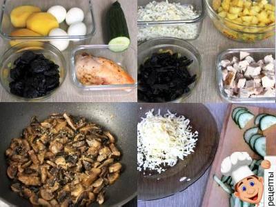 салатс черносливом и курицей слоями