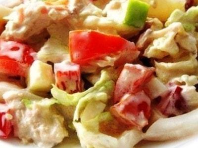 салат пекинская капуста курица кальмары
