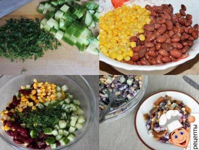 салат с фасолью кукурузой и курицей