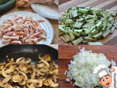 слоеный салат с копченой курицей грибами