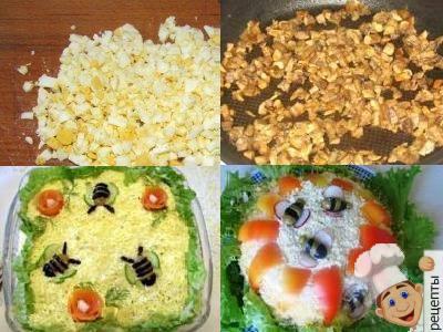 рецепт салатс курицей грибами и маринованными огурцами