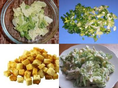 салат с пекинской капустой и курицей и сухариками