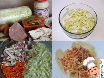 салат с корейской морковью курицей и капустой