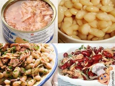 Салат с тунцом и фасолью: консервированной, вареной