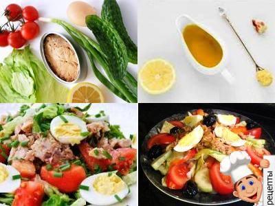 салат с тунцом, помидорами, огурцами